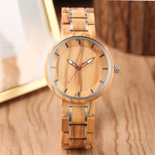 Load image into Gallery viewer, Stainless Steel Belt Wooden Band Quartz Watch