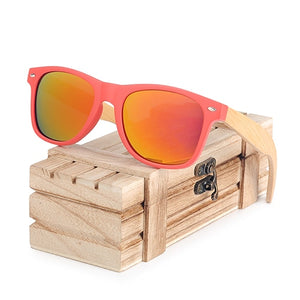 Red Frame Woman Polarized Bamboo Sunglasses