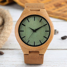 Load image into Gallery viewer, Fresh Green Bamboo Wood Watch