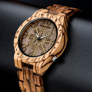 Engrave Pattern Wood Watch