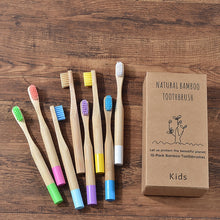 Load image into Gallery viewer, 10PC Kids Bamboo Toothbrush