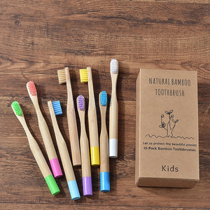 10PC Kids Bamboo Toothbrush