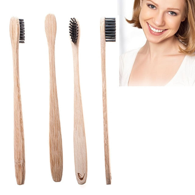 4Pcs/Set Hot New Bamboo Toothbrush with Charcoal Bristles
