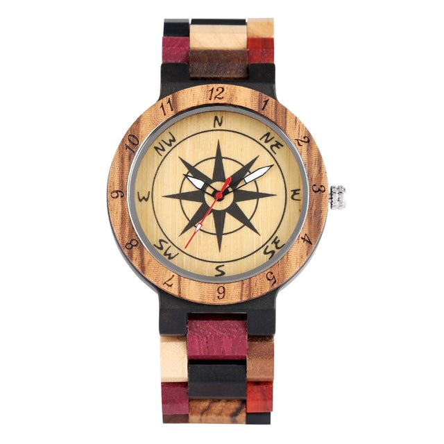 Royal Compass Dial Wood Watch