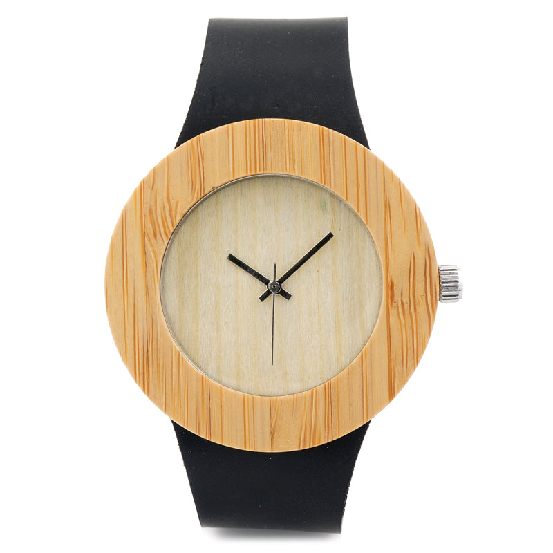 Handmade Bamboo Wristwatch with Genuine Leather Band