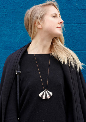 Horn & Shell Deco Fan Necklace - Isobell Designs