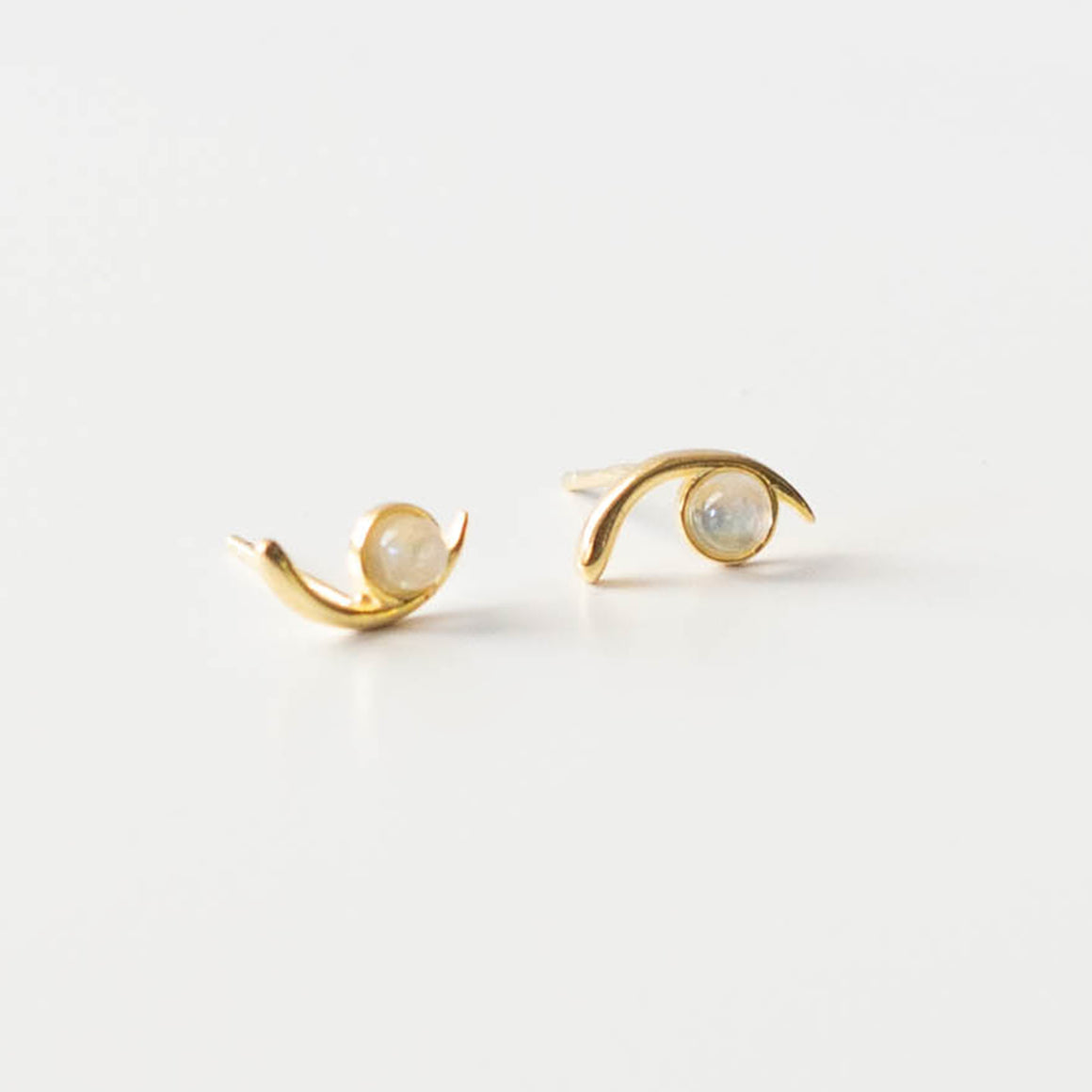 Moonstone Cove Studs  | Gold - Isobell Designs - Earrings - handmade-jewelry-california-minimal-delicate-jewellery.