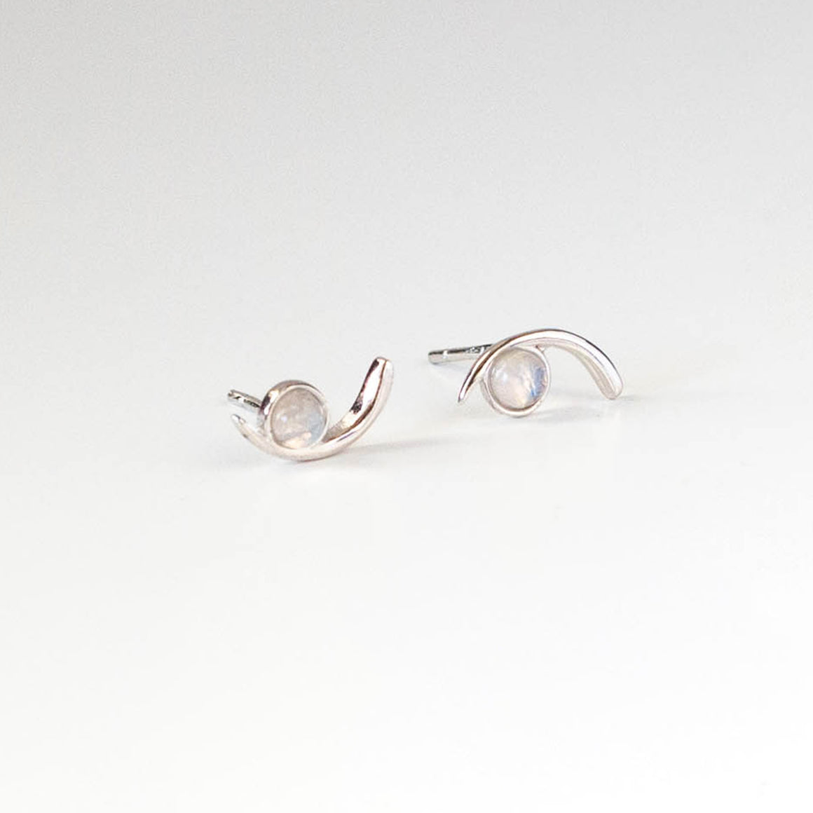 Moonstone Cove Studs  | Silver - Isobell Designs - Earrings - handmade-jewelry-california-minimal-delicate-jewellery.