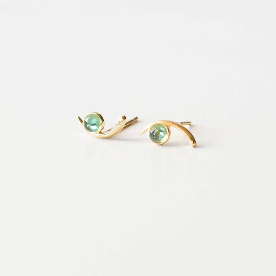Aquamarine Cove Studs  | Gold - Isobell Designs - Earrings - handmade-jewelry-california-minimal-delicate-jewellery.