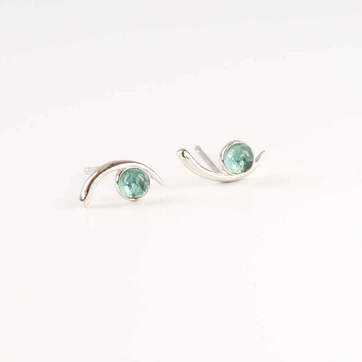 Aquamarine Cove Studs  | Silver - Isobell Designs - Earrings - handmade-jewelry-california-minimal-delicate-jewellery.