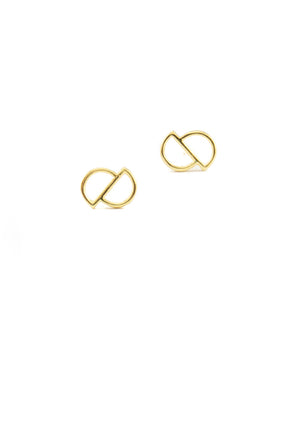 Cavo Circle Studs  | Gold - Isobell Designs - Earrings - handmade-jewelry-california-minimal-delicate-jewellery.