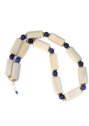 Wood & Lapis Statement Necklace - Isobell Designs