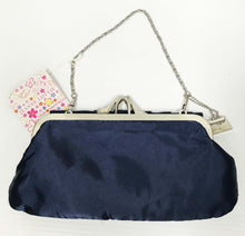 Load image into Gallery viewer, Navy Satin Evening bag