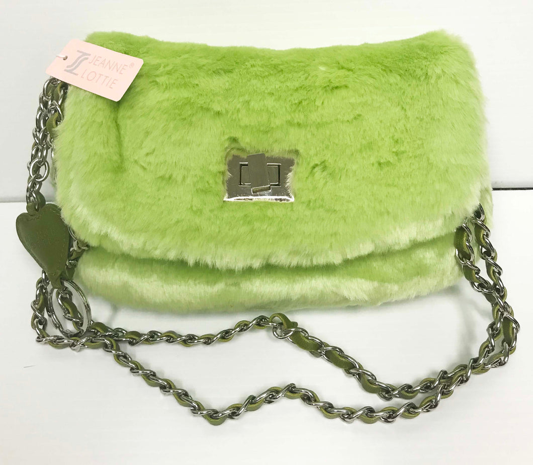 Faux fur small clutch with shoulder strap