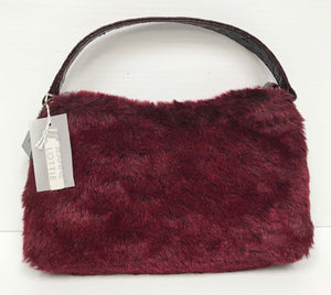 Faux fur cherry small shoulder bag