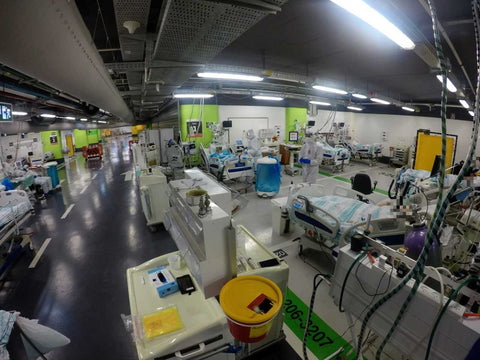 Temporary COVID-19 ward in underground carpark at the Rambam Health Care Campus in Israel