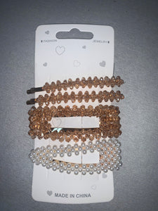 White/Bronze Hair Clips
