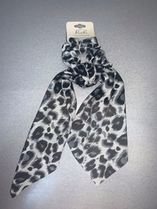 Grey Leopard Scrunchie