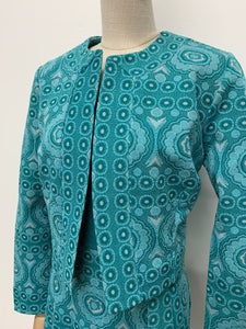 Turquoise 1960s Maxi Dress Suit