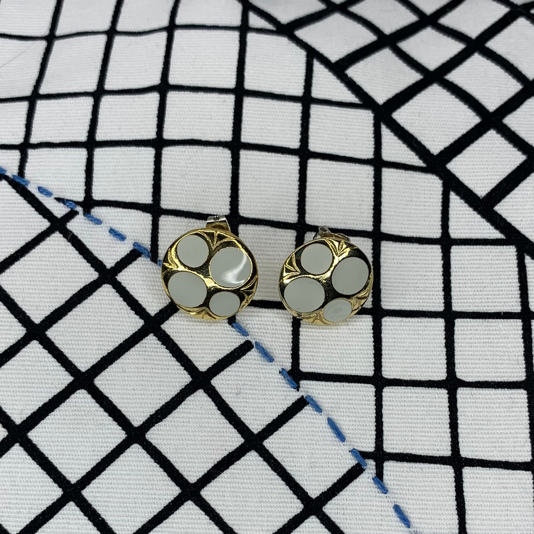 Gold Enamel Bubble Earrings