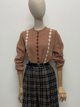 Load image into Gallery viewer, Terracotta & Cream Harlequin Jumper