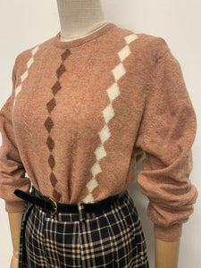 Terracotta & Cream Harlequin Jumper