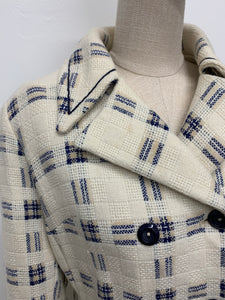 Cream & Blue Woven Plaid Coat