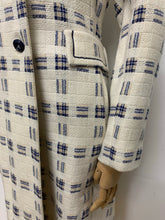 Load image into Gallery viewer, Cream & Blue Woven Plaid Coat