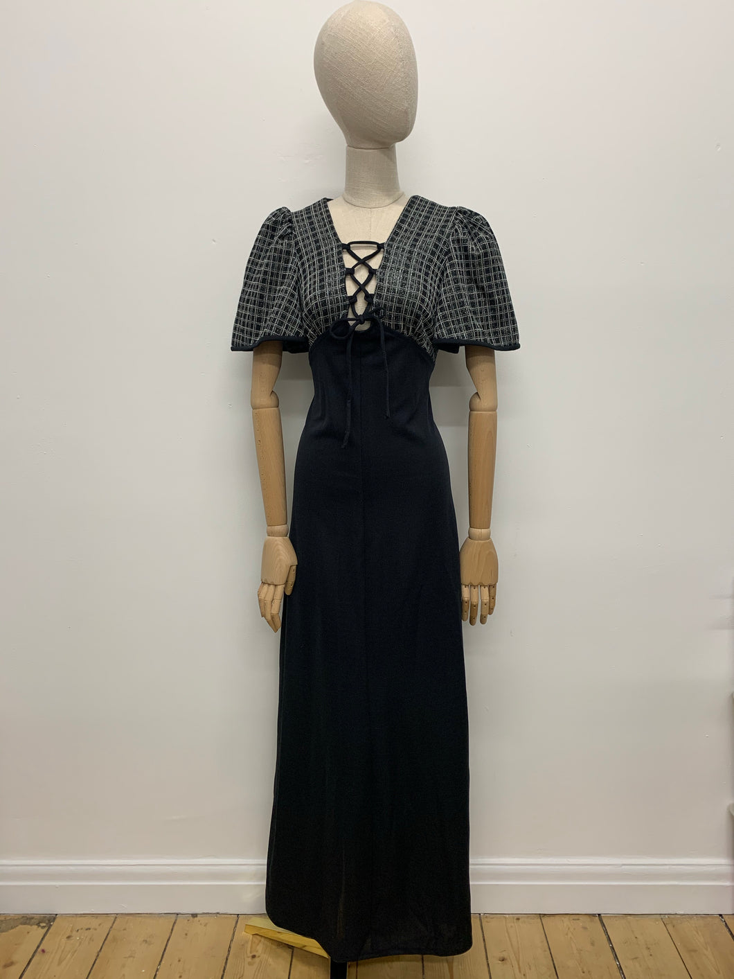 Black & Silver Check 1970s Maxi Dress