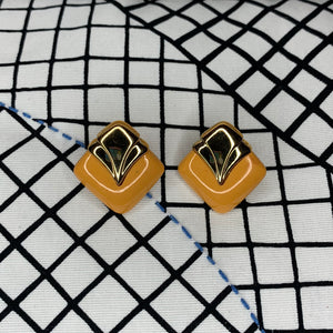 1970s Art Deco Style Stud Earrings