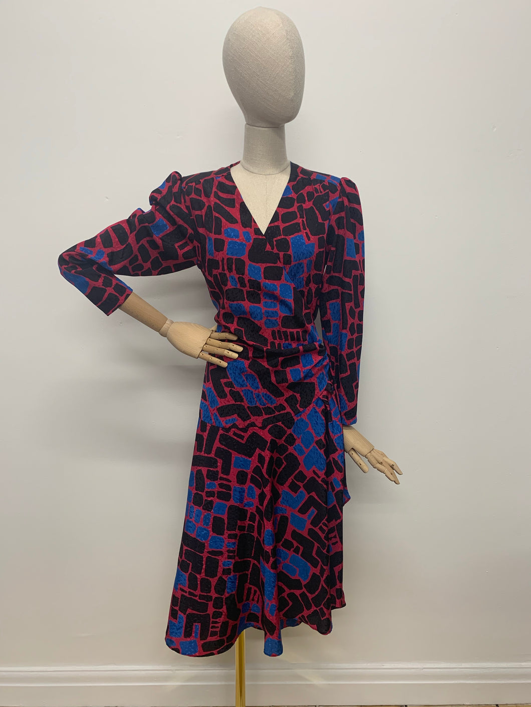 Graphic 1980s Wrap Dress