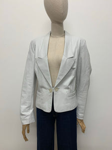 White Leather Blazer