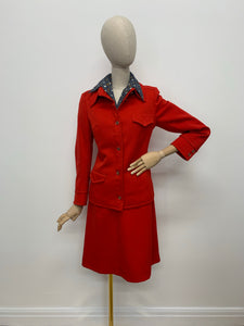 1970s Jaeger London Red Wool Suit