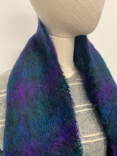 Load image into Gallery viewer, Blue & Green Plaid Mohair Scarf