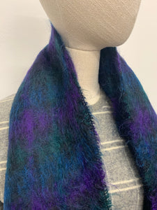 Blue & Green Plaid Mohair Scarf