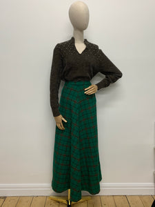 1970s Green & Brown Plaid Maxi Skirt
