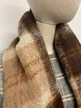 Load image into Gallery viewer, Brown Plaid Mohair Scarf