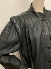 Load image into Gallery viewer, Black Leather Bomber Jacket