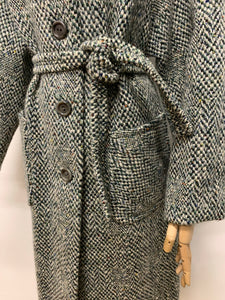 Green Herringbone Tweed Coat