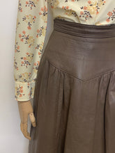 Load image into Gallery viewer, Taupe Leather Midi Skirt
