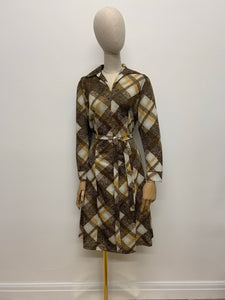 1970s Brown Tartan Dress