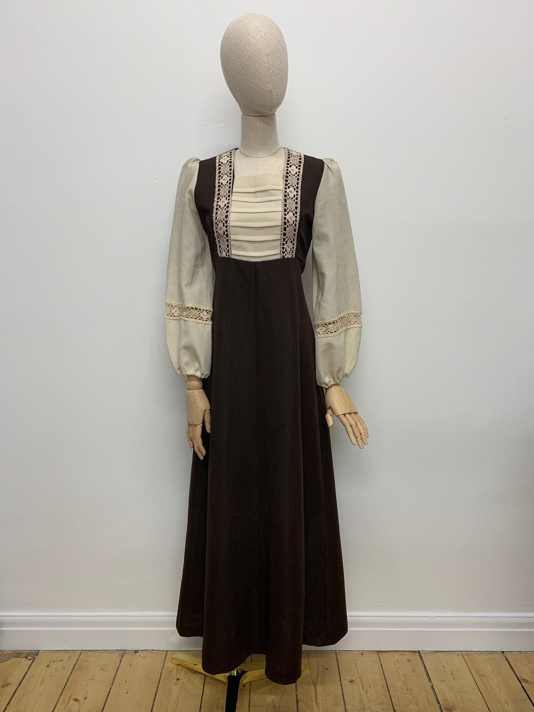 1970s Brown & Cream Prairie Dress