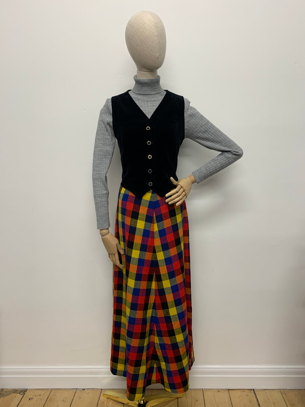 Bright Check 1970s Maxi Skirt