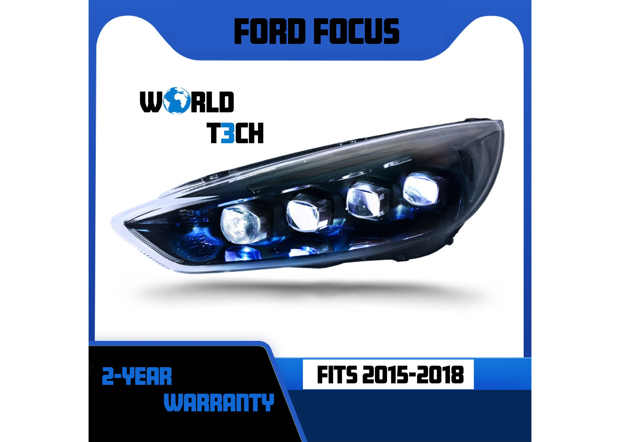 2015-2018 Ford Focus Full LED Projector Headlights
