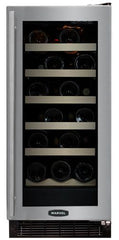 23 Bottle wine Refrigerator, black cabinet, stainless glass door, right hinge (30WCMBSG-L /R)