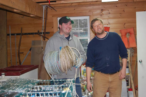 Josh Miller (right), president of the Tenants Harbor Fisherman's Co-op, with best friend and fellow lobsterman, Jason Witham.