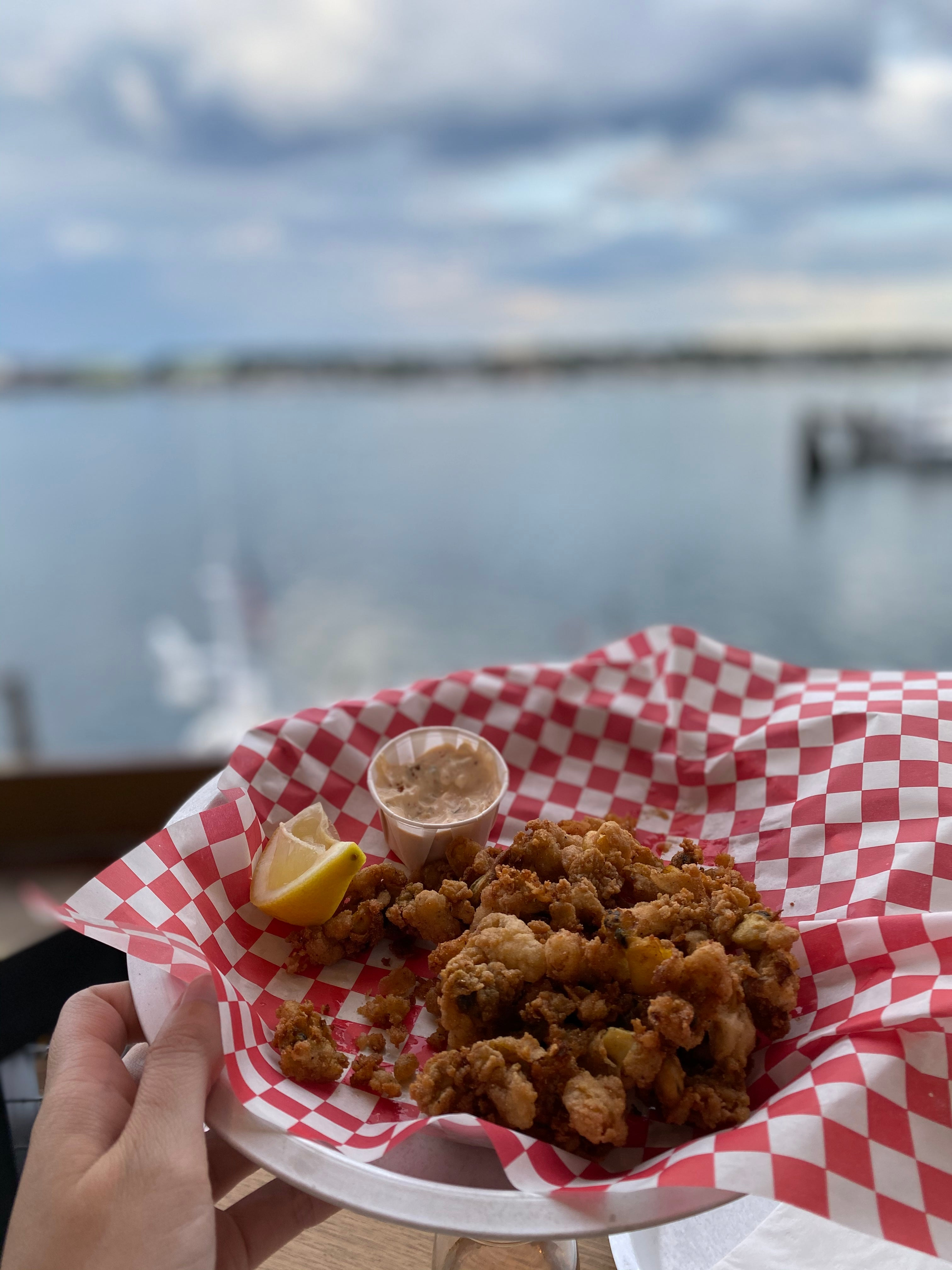 fried clams in a basket