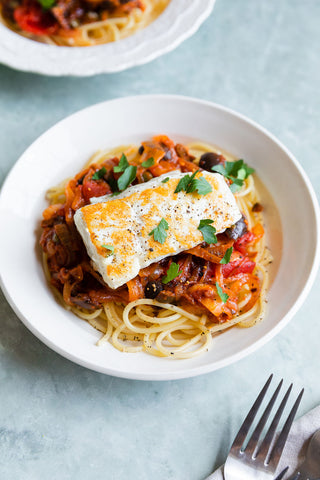 halibut in a tomato sauce with pasta