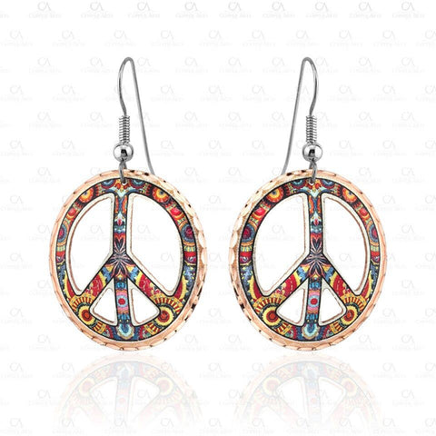 Colorful Cut Out Peace Sign Earrings CO-531