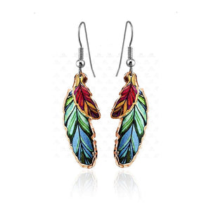 Dangle Copper Colorful Feather Earrings Ym-109
